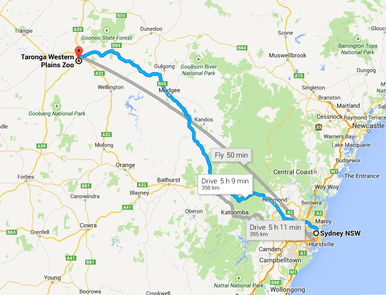 Sydney to Dubbo Map