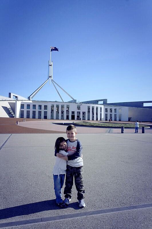 Out the front of Parliament House