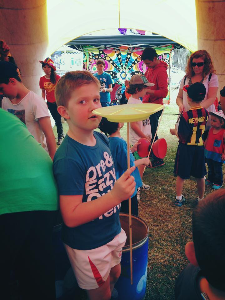 Trying the activities in the circus tent