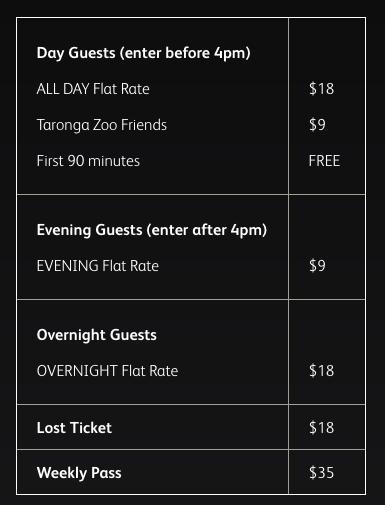 Vivid Sydney at Taronga Zoo Car Parking Prices